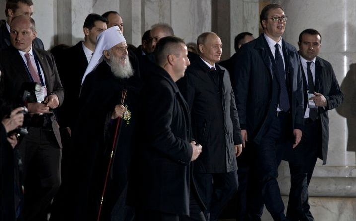 Le président Poutine s'est rendu à la cathédrale Saint-Sava de Belgrade